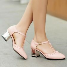 Plus Size Womens Chic Pumps T-Strap Block Heel Casual Party Court Dating Shoes