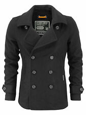 Superdry Mens Commodity Slim Pea Coat Winter Jacket - Charcoal (#7749)
