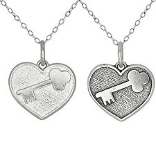 Heart with Key Love Sterling Silver Charm Pendant Necklace Made in USA