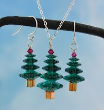 Emerald Green and Ruby Red Christmas tree sterling silver necklace & earring set