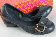 $225 NWB Auth Tory Burch NOEL Ballet Flats Bright Navy Mestico Leather 10;11