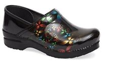 Dansko Professional Scatter Floral Patent Stapled Clogs NIB Choose Size