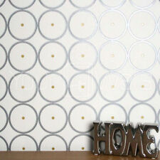 'Sphere' Graphic Modern Wallpaper in White, Dark Grey & Gold