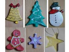 Christmas Tree Decorations Set of 3 Hanging Tree Bell Star Gingerbread Man Snow