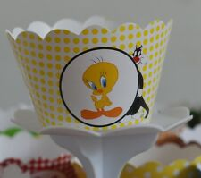 "12 kids Party ""TWEETY & SYLVESTER"" Cupcake Wrappers - WORLDWIDE FREE SHIPPING"