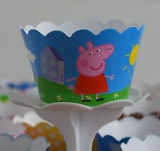 "12 Kids Bday Party ""PEPPA PIG"" Cupcake Wrappers - WORLDWIDE FREE SHIPPING"