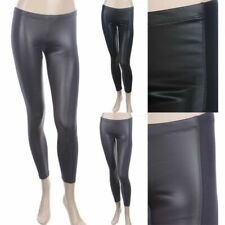 Front PU Panel Solid Ankle Length Leggings Elastic Waistband Cotton Span S M L
