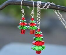 Fern Green and Siam Red Christmas tree sterling silver necklace & earring set