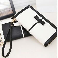 Women's Zip PU Leather Clutch Case Long Handbag Wallet Phone Purse Card Holder