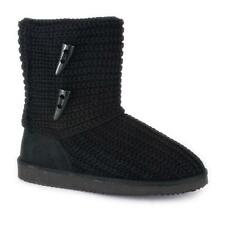 Zone Hearts - Womens Black Knitted Ankle Boot with Toggle Detail