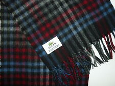 Lacoste Cashmere & Wool Black, Blue & Red Check Scarf