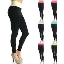 Sports Seamless Basic Fold Over Waistband Leggings Stretch Spandex ONE SIZE