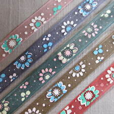 3 Metres FLORAL PRINT SHEER ORGANZA CHIFFON 9mm RIBBON TRIM - CHOICE OF COLOUR