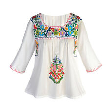 Peasant Tunic Top - Cotton 3/4 Sleeves and Colorful Embroidered Flowers