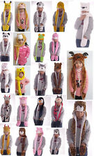 2014 New Plush Soft Cartoon Animal Earmuff Scarf Gloves Hat For Adult/Child