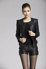 New Womens Fashion Plaid Quilted Faux Leather Motorcycle Biker Jacket Coat Black