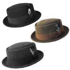 Man Classic 100% Wool Felt Crushable PorkPie Hat Feather Round Flat Top Fedora