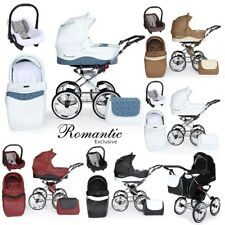 ROMANTIC LEATHER COLLECTION CLASSIC RETRO PRAM TRAVEL SYSTEM CAR SEAT 5 COLOURS