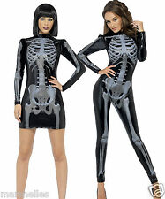 SKELETON LADIES HALLOWEEN 3D FANCY COSTUME BLACK GOTHIC SEXY CATSUIT OR  DRESS