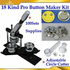 ASC365 Pro N3 Badge Button Maker Machine+Adjust Circle Cutter+100 Pin Back Parts