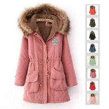 S-3XL PLUS WOMEN'S LADY WINTER WARM LONG HOODED FUR COAT PEACOAT PARKA JACKET