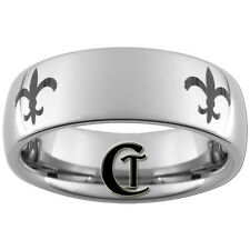 8mm Dome Tungsten Carbide Lasered Fleur De Lis Design Available In Size 4-17