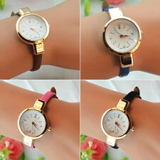 Women Candy Color Marvellous Chic Thin Leather Strap Quartz Bracelet Wrist Watch