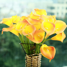 10 Head Calla Lily Latex Artificial Flower Bouquets Home Wedding Party Decor