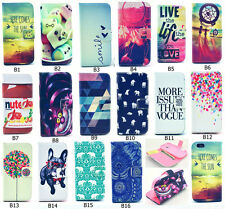 Stylish Hybrid Flip Printed Wallet PU Leather Stand Case Cover For Samsung (B#)
