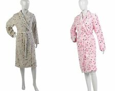 Womens Spotty Dressing Gown Ladies Soft Polyester Coral Fleece Circles Bath Robe