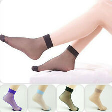 10 Pairs Women Girls Elastic Candy Color Ankle Silk Stocking Short Socks