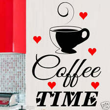 Coffee Time with cup and red hearts Wall Sticker