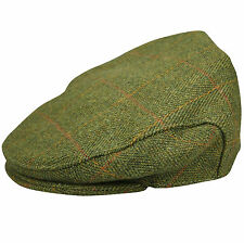 New Mens Authentic Tweed Flat Cap Country Wool Shooting Hat Teflon Coated Peaked