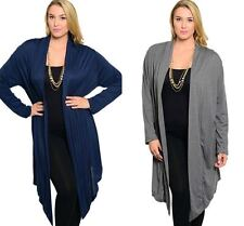 NEW LONG SLEEVE Long A-SYM Top CARDIGAN DUSTER Topper NAVY BLUE/GRAY 1X/2X/3X