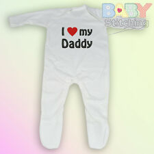 """I Love {Heart} my Daddy"" Embroidered Baby Romper Babygrow - Baby Gift"