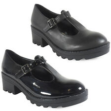 WOMENS LADIES CASUAL T-BAR HEEL TREAD SOLE WORK SHOES CHUNKY BOOTS SIZE