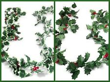 2X-Christmas decorations 175cm HOLLY AND BERRY GARLAND (green or variegated )