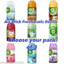 3 x AIRWICK AIR WICK BUMPER FRESH FRESHMATIC MAX REFILLS 250ml -choose fragrance