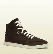 New Authentic Gucci Mens Shearling High-Top Sneaker w/Web,Cocoa, 309408 2140