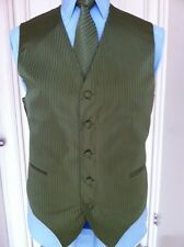 MENS TUXEDO/SUIT TONE ON TONE OLIVE VEST, TIE & HANKY SET BY VESUVIO NAPOLI