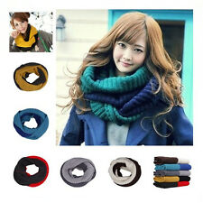 Winter Double Color Knit Crochet Scarf Infinity Cowl Circle Loop Ring Scarves