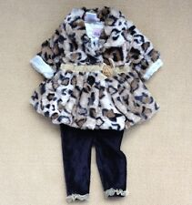 3pcs Infant Baby Girl's Warn Leopard Coat+Shirt+Pant Outfits Clothes 3-24Month