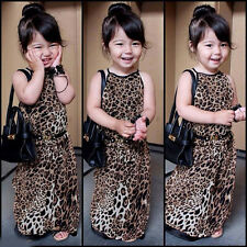 Pageant Dressy Kids Girls Animal Leopard Print Rayon Maxi Long Dress