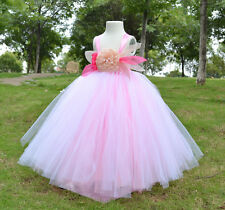 Flowers girl tutu pink dress with tulle for wedding and birthday