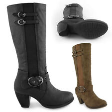LADIES WOMENS MID LOW CHUNKY BLOCK HEEL KNEE HIGH CALF WINTER RIDING BOOTS SHOES