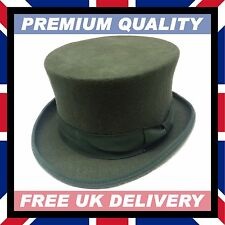 HAND MADE OLIVE GREEN TOP HAT 100% Wool Felt Satin Wedding - Boxed