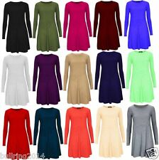 Celeb Ladies Plain Smock Swing Womens Shift Top Jersey Tunic Flared Mini Dress