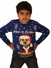 Kids Girls Boys Knitted MEERKAT Frozen Olaf 3D Nose Christmas Sweater Jumper Top