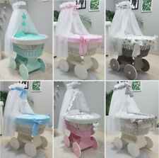 TOLO WICKER MOSES BASKET + CHASS + BIG WOODEN WHEELS + BEDDING + DRAPE 10 COLOUR