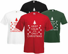 Keep Calm It's Only Christmas T Shirt Funny Xmas Tee Unisex Top Gift Fun Present